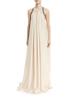 Brunello Cucinelli Crinkled Silk Sleeveless Gown with Monili Back Detail