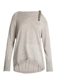 Brunello Cucinelli Cut-out shoulder cashmere-blend sweater