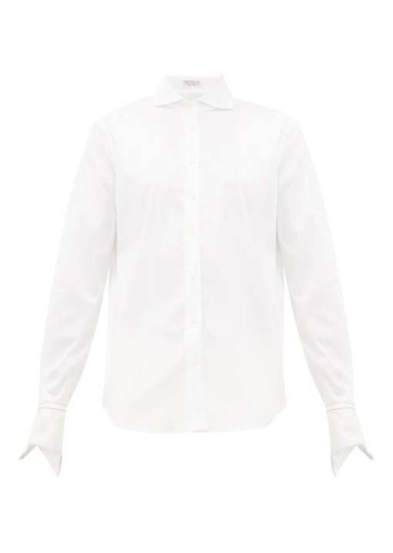 Brunello Cucinelli Cutaway-collar cotton-blend shirt