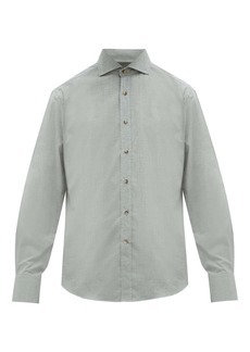 Brunello Cucinelli Cutaway-collar cotton-chambray shirt