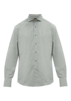 Brunello Cucinelli Cutaway-collar cotton-chambray shirt