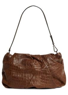 Brunello Cucinelli Deconstructed Croc Embossed Leather Baguette Bag