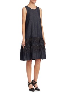 Brunello Cucinelli Denim Tiered Shift Dress