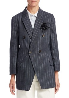 Brunello Cucinelli Double-Breasted Pinstripe Blazer