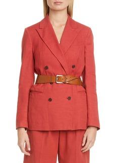 Brunello Cucinelli Double Breasted Stretch Linen & Cotton Blazer