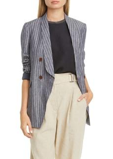 Brunello Cucinelli Double Breasted Stripe Linen Jacket