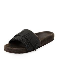 Brunello Cucinelli Double Monili Fringe Pool Slide Sandal