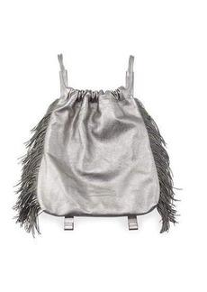Brunello Cucinelli Drawstring Fringe Leather Backpack