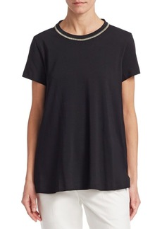 Brunello Cucinelli Embellished Collar Short-Sleeve Top