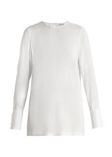 Brunello Cucinelli Embellished-cuff silk-blend habotai blouse