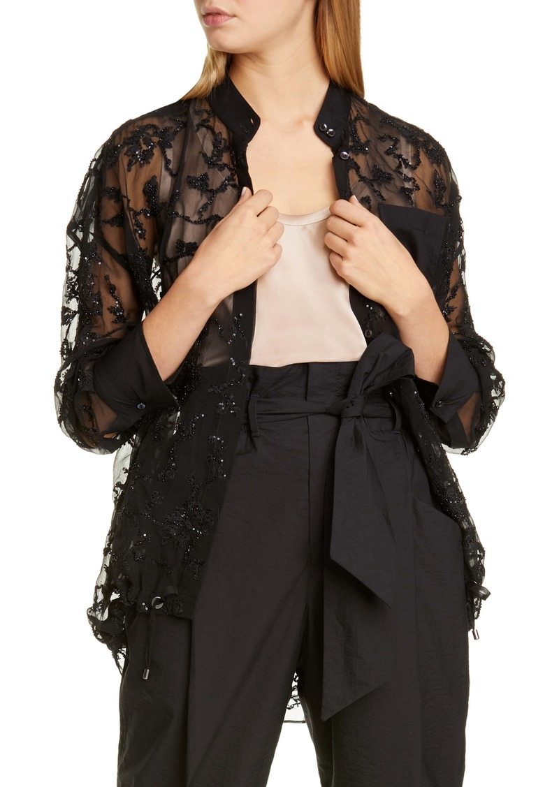Brunello Cucinelli Embellished Sheer Silk Shirt