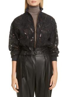 Brunello Cucinelli Embellished Silk Tulle Bomber Jacket