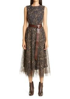 Brunello Cucinelli Embroidered Floral Tulle Sleeveless Dress