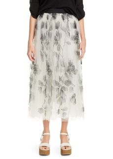 Brunello Cucinelli Embroidered Tulle Midi Skirt