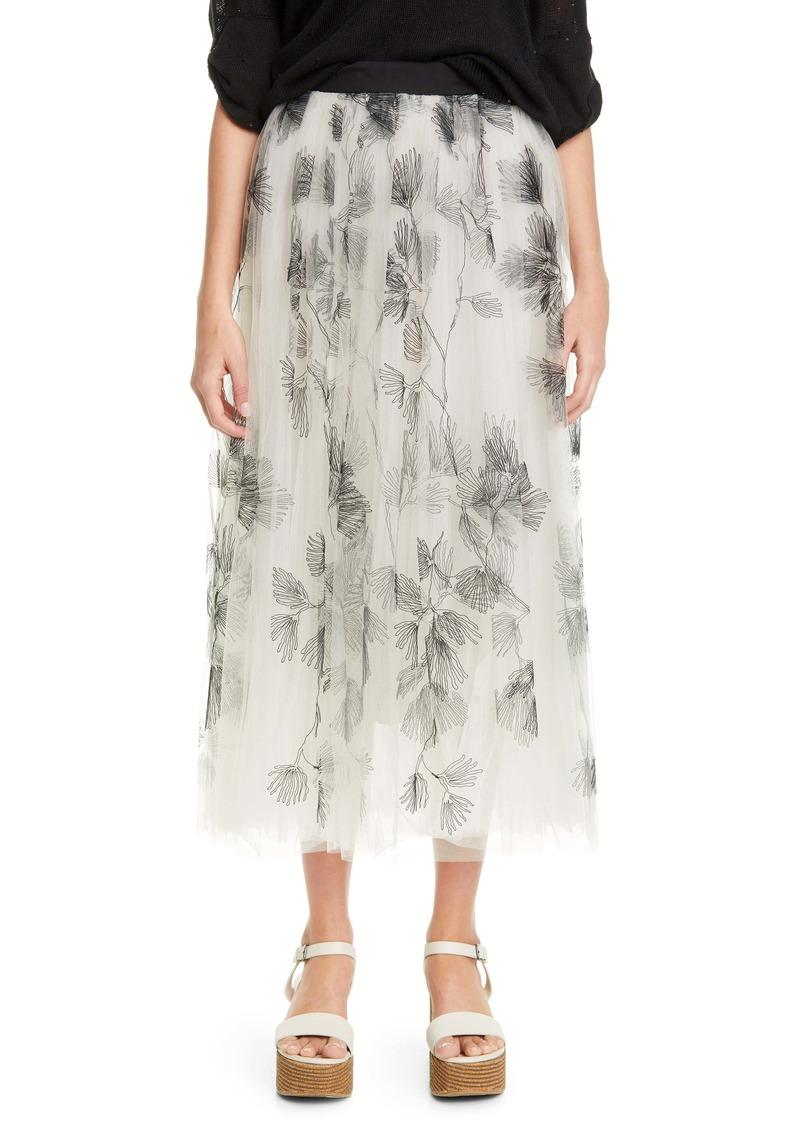Brunello Cucinelli Embroidered Tulle Midi Skirt