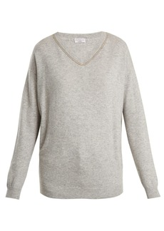 Brunello Cucinelli Embroidered V-neck cashmere sweater