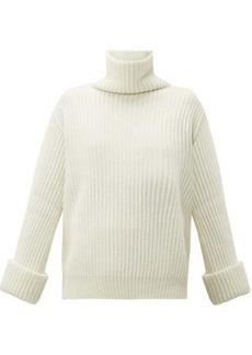 Brunello Cucinelli Faceted buttoned-cuff cashmere roll-neck sweater
