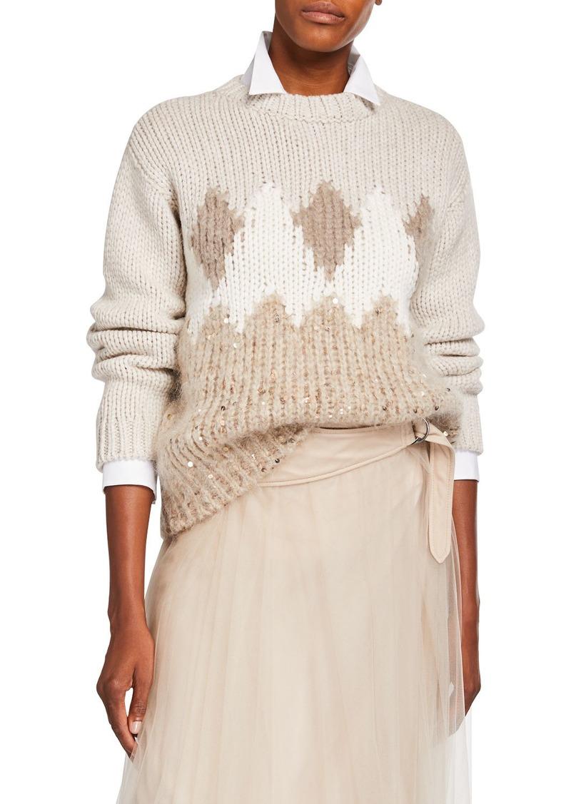 Brunello Cucinelli Fair Isle Sequined Wool-Cashmere Sweater