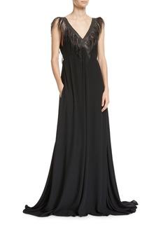 Brunello Cucinelli Feather & Monili V-Neck Silk Evening Gown
