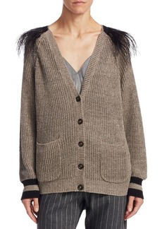 Brunello Cucinelli Feather Shoulder Linen Cardigan