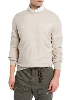Brunello Cucinelli Fine-Gauge Knit Elbow-Patch Sweater