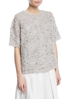 Brunello Cucinelli Floral-Embroidered Paillette Artisan Cotton Linen Top