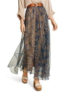 Brunello Cucinelli Floral Print Silk Chiffon Maxi Skirt