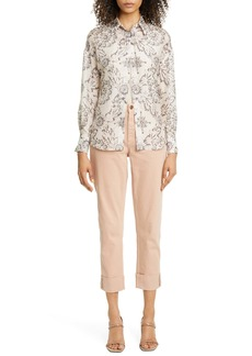 Brunello Cucinelli Floral Print Silk Shirt