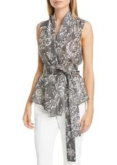 Brunello Cucinelli Floral Print Silk Wrap Blouse