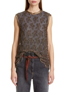 Brunello Cucinelli Floral Sequin Overlay Top