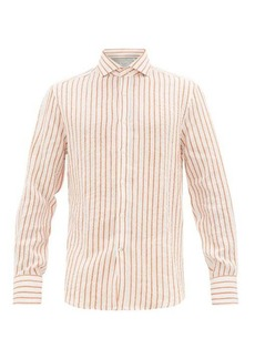 Brunello Cucinelli French collar striped linen shirt