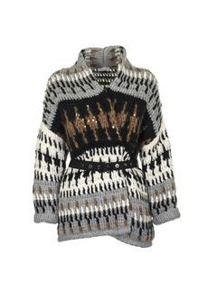Brunello Cucinelli Front Open Sweater With Waist Belt Multicolor
