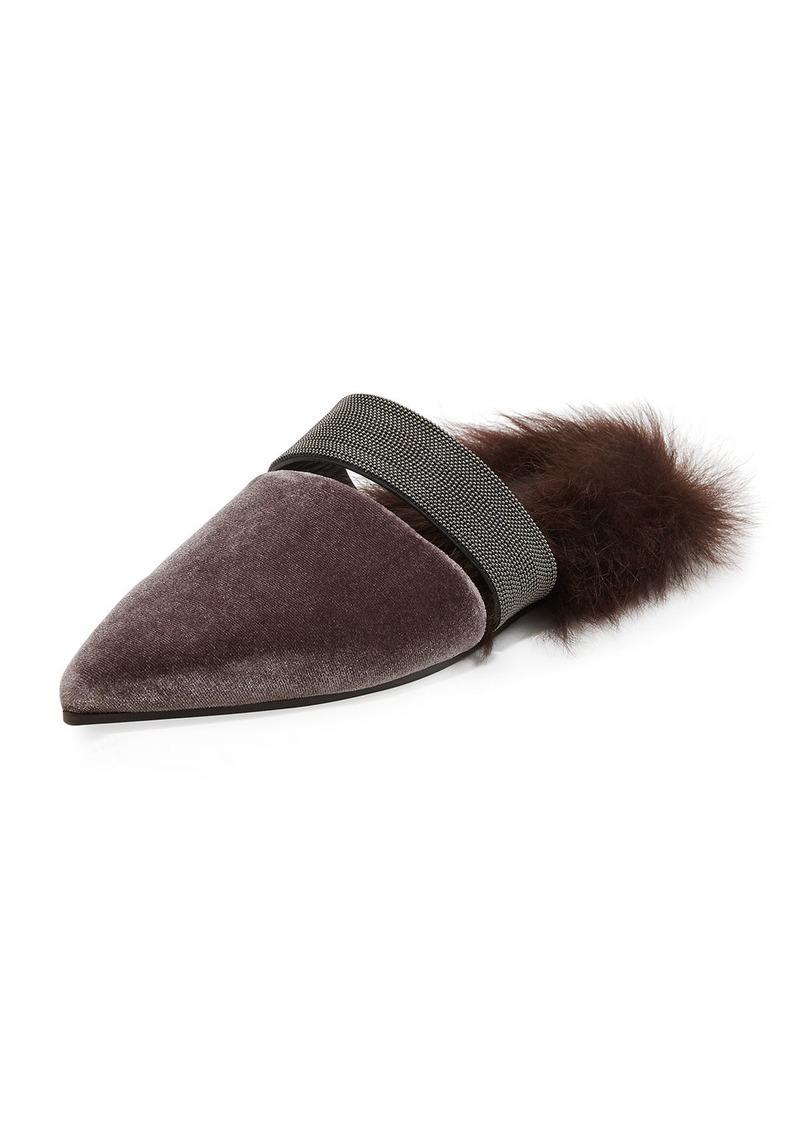 Brunello Cucinelli Fur-Lined Velvet Mule with Monili Strap 8Nm8KCIfz