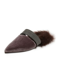 Brunello Cucinelli Fur-Lined Velvet Mule with Monili Strap