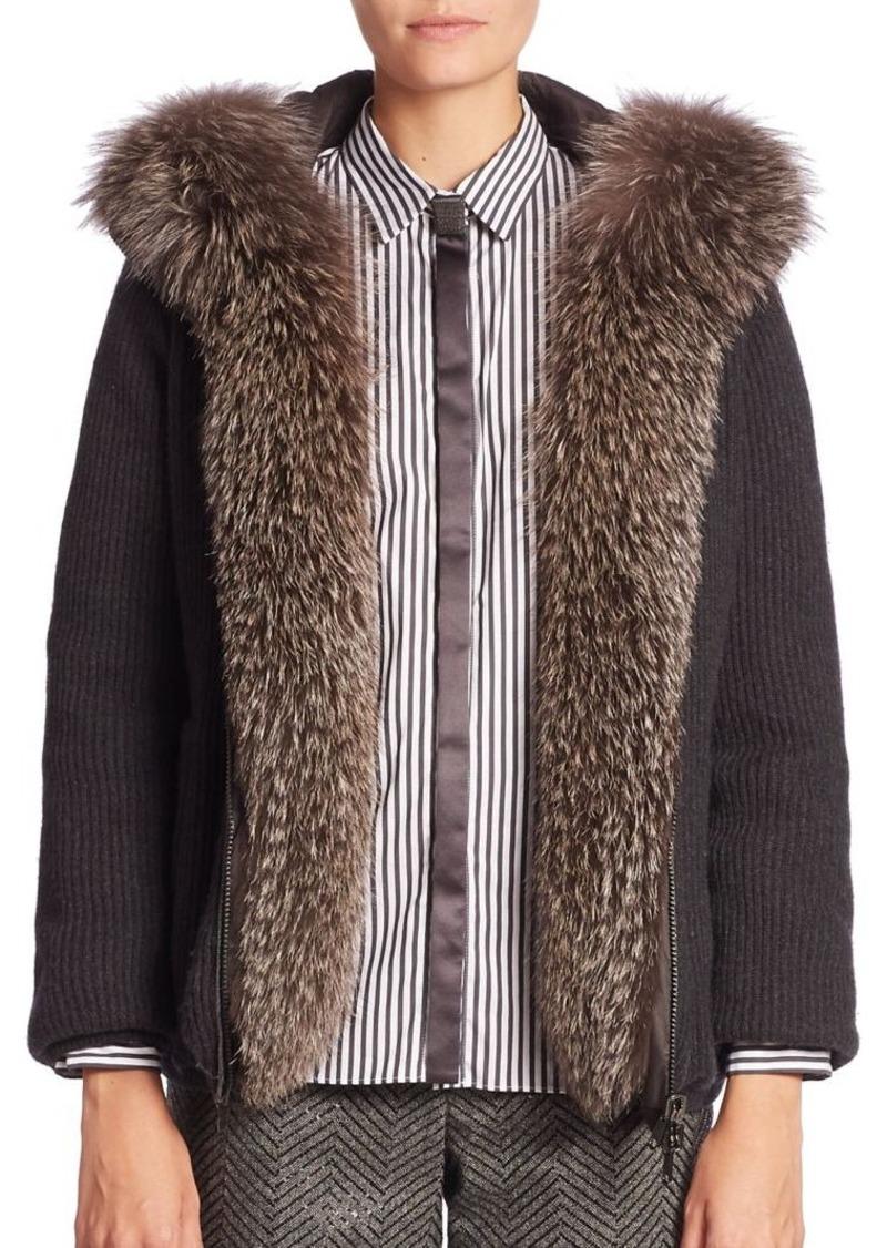 Brunello Cucinelli Fur-Trim Hooded Cashmere Cardigan