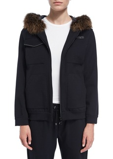 Brunello Cucinelli Fur-Trim Zip-Front Hoodie