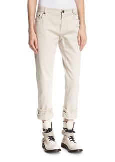 Brunello Cucinelli Garment-Dyed Boyfriend Jeans with Rolled & Frayed Cuffs