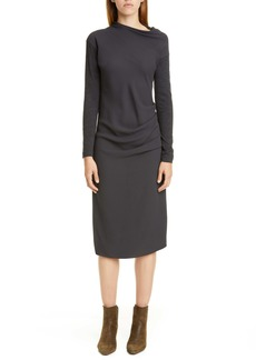 Brunello Cucinelli Gathered Mixed Media Long Sleeve Midi Dress