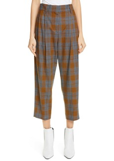 Brunello Cucinelli Glen Plaid Pleated Crop Trousers