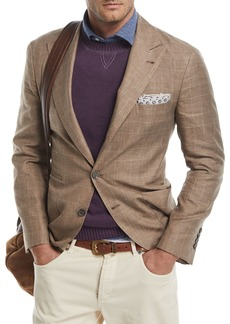 Brunello Cucinelli Glen Plaid Wool-Linen Sport Coat