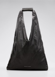 Brunello Cucinelli Greased Leather Hobo Bag with Monili Handle