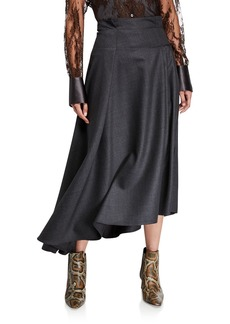 Brunello Cucinelli Grisaille Wool Asymmetric Skirt