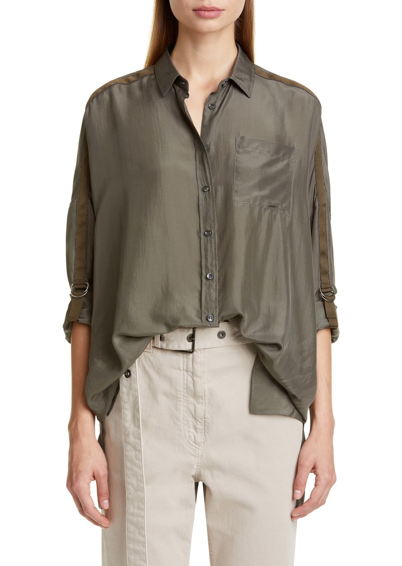 Brunello Cucinelli Grosgrain Ribbon Trim Oversize Silk Shirt
