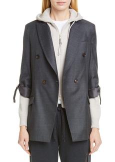 Brunello Cucinelli Grosgrain Stripe Wool Blazer