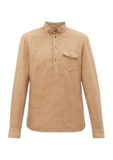 Brunello Cucinelli Half-button linen-blend shirt