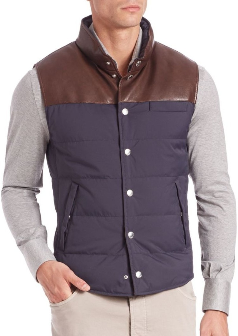Brunello Cucinelli Brunello Cucinelli Half Leather Quilted Vest ... : leather quilted vest - Adamdwight.com