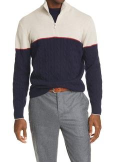 Brunello Cucinelli Half-Zip Wool Blend Sweater