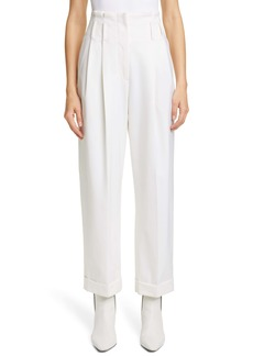 Brunello Cucinelli High Pleated Waist Cuffed Ankle Pants