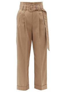 Brunello Cucinelli High-rise cotton-blend trousers