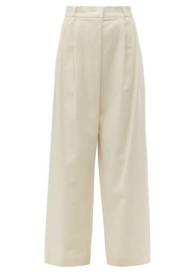 Brunello Cucinelli High-rise cotton-blend twill trousers